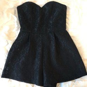 Strapless Black Lace Romper